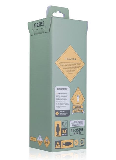 BUTTR Yellow Dog Bullet Butt Plug 250 x 89 mm