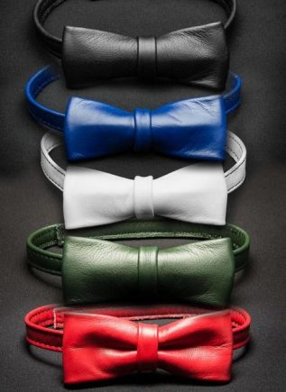 Mr. S Leather Bow Tie Red