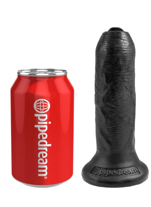 """Pipedream King Cock Uncut Cock with Foreskin Dildo 6"""" (15 cm) Black"""