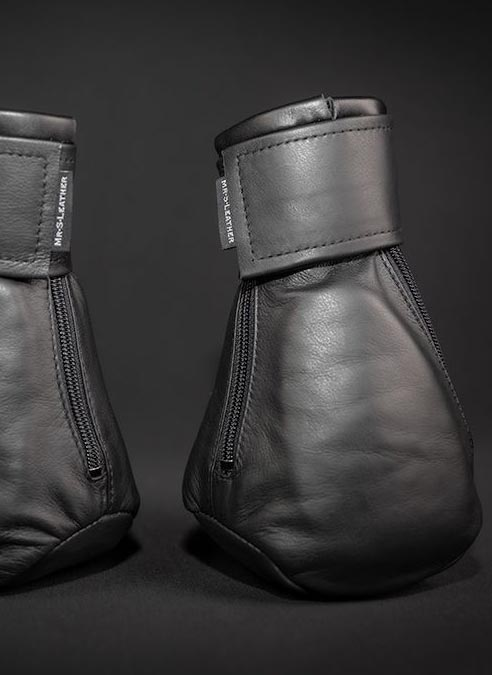 Mr. S Leather Padded K9 Mitts Black