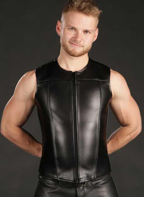 Mr. S Leather Zip Front Vest Black Large