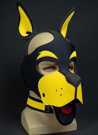 Mr. S Neoprene WOOF! Head Harness Yellow