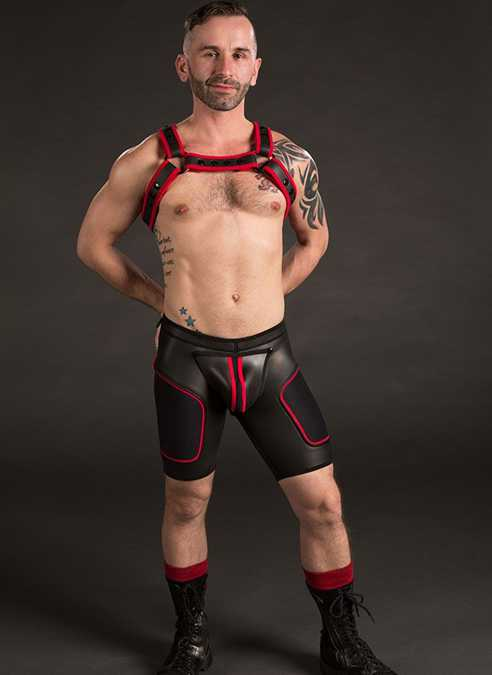 Mr. S Neoprene All Access Play Short Red Small