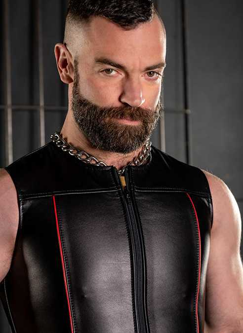 Mr. S Leather Zip Front Vest Red Medium
