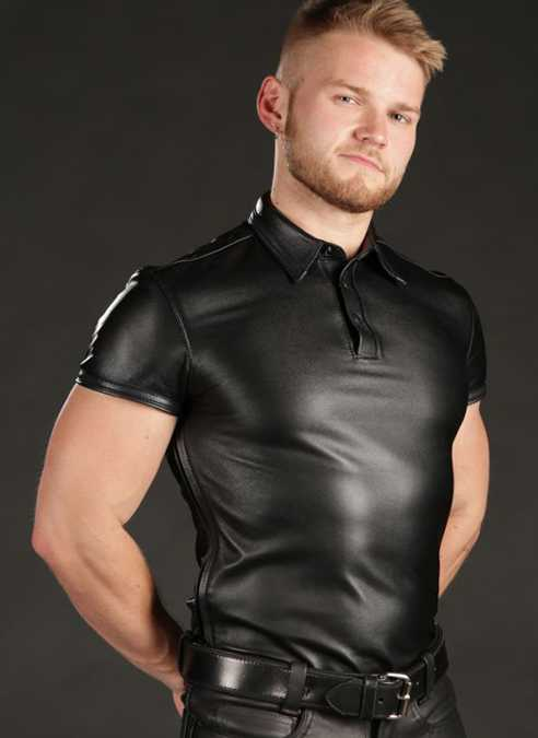 Mr. S Lambskin Polo Shirt Black Medium