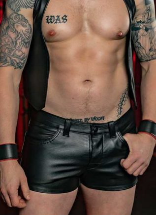 Mr. S Leather Jean Short 34""