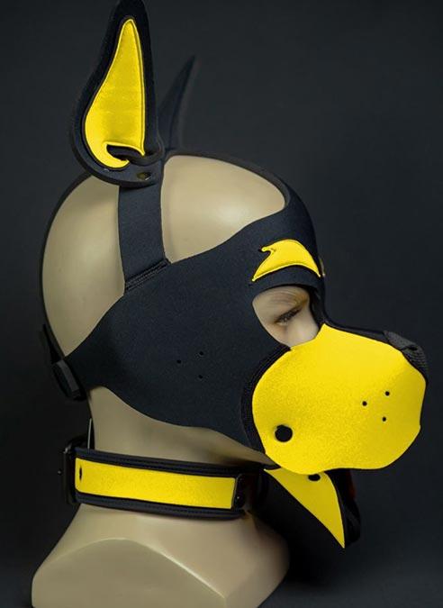 Mr. S Neoprene WOOF! Head Harness Yellow