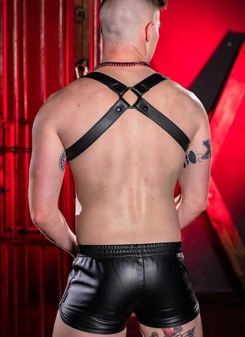 Mr. S Leather Gym Short w/ Zipper Pocket Black Small