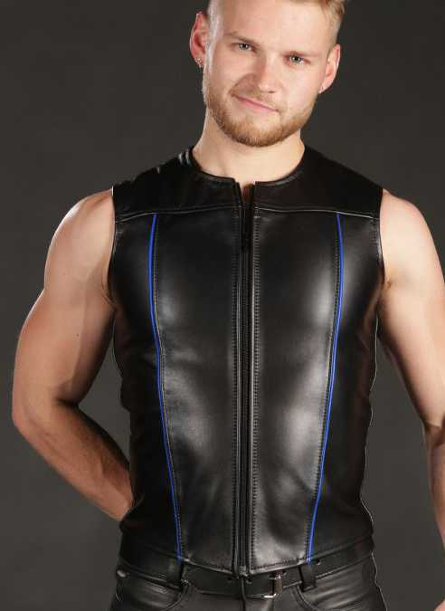 Mr. S Leather Zip Front Vest Blue Small