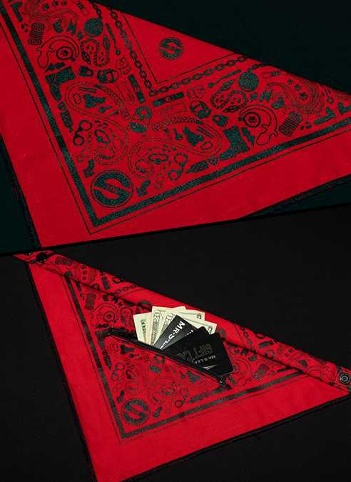 Mr. S Neck Hanky with Zipper Pocket Red