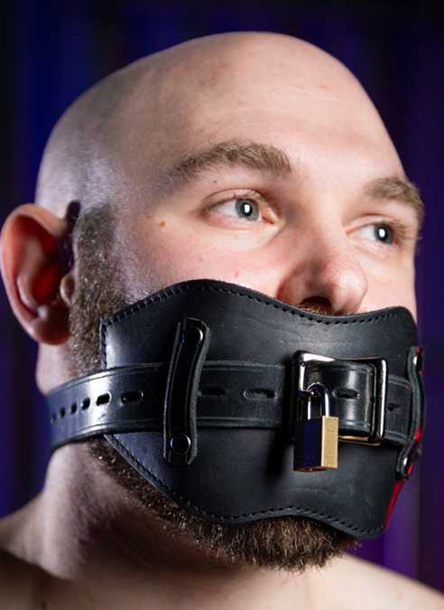 Mr. S Fetters Leather Front Buckle Gag Padded with Locking Buckle Black