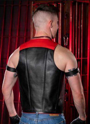 Mr. S Leather Sport Bar Vest Red Large