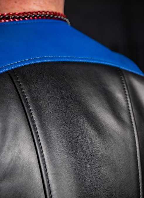 Mr. S Leather Sport Bar Vest Blue Extra large