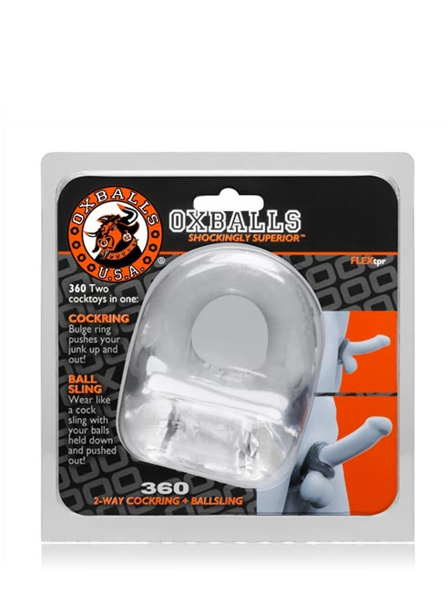 Oxballs 360 Cock Ring And Ball Sling TPR Clear
