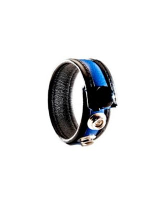 Black Label 3 Snap Leather Cockstrap Blue