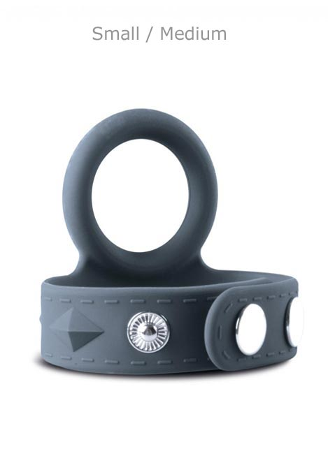 Boners Silicone Cock Ring & Ball Strap Grey Large