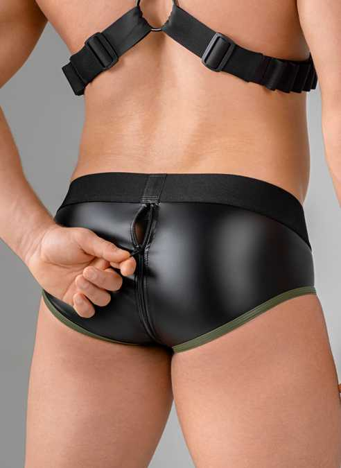 Maskulo Enforce Zippered Rear Brief with Logo Codpiece Small