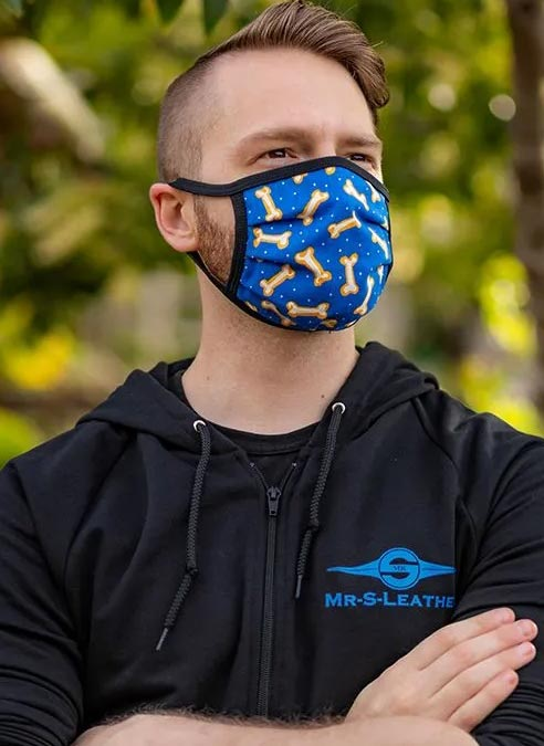 Mr. S Reversible Hanky Facemask Bone Blue